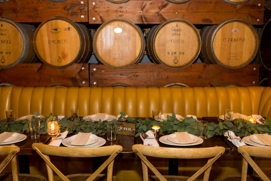 Madera Kitchen wedding reception barrel room