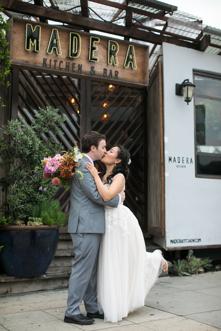 Bride and groom at Madera Kitchen Los Angeles