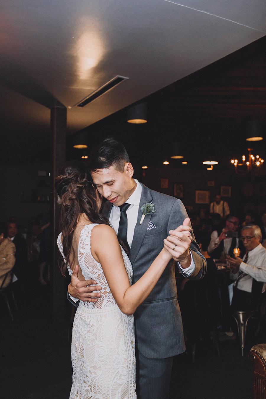 Madera Kitchen wedding bride and groom first dance