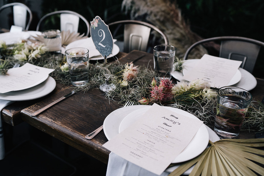 beautiful floral and table details at boho wedding