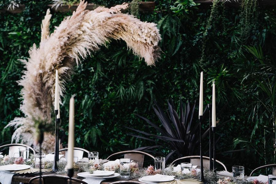 reception tabletop at madera kitchen for boho wedding