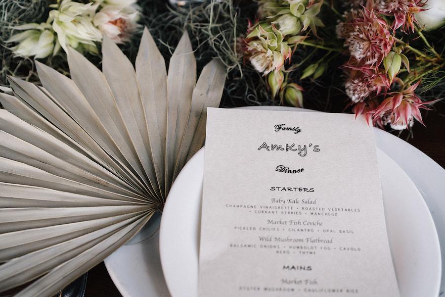 tabletop details of boho pastel wedding