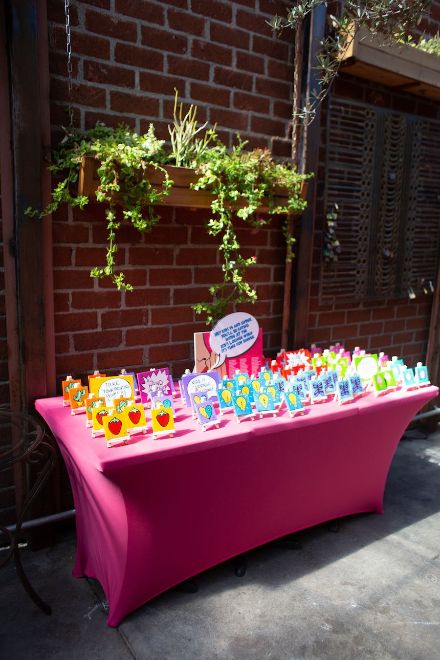 gifting table with hand-painted artwork at bat mitzvah