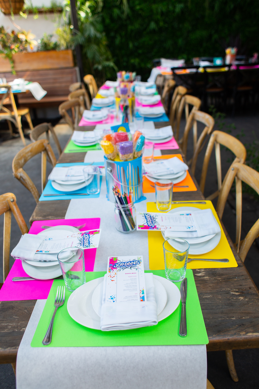 tabletop decor at bat mitzvah in los angeles