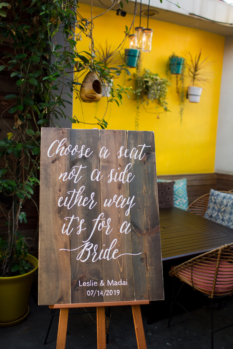 wedding ceremony sign at madera kitchen los angeles