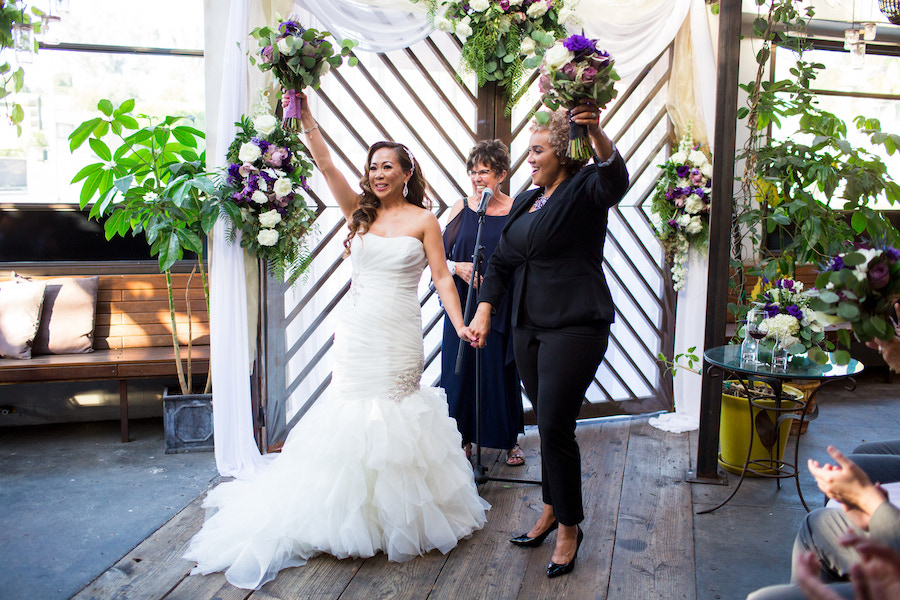 brides celebrating at madera kitchen in los angeles