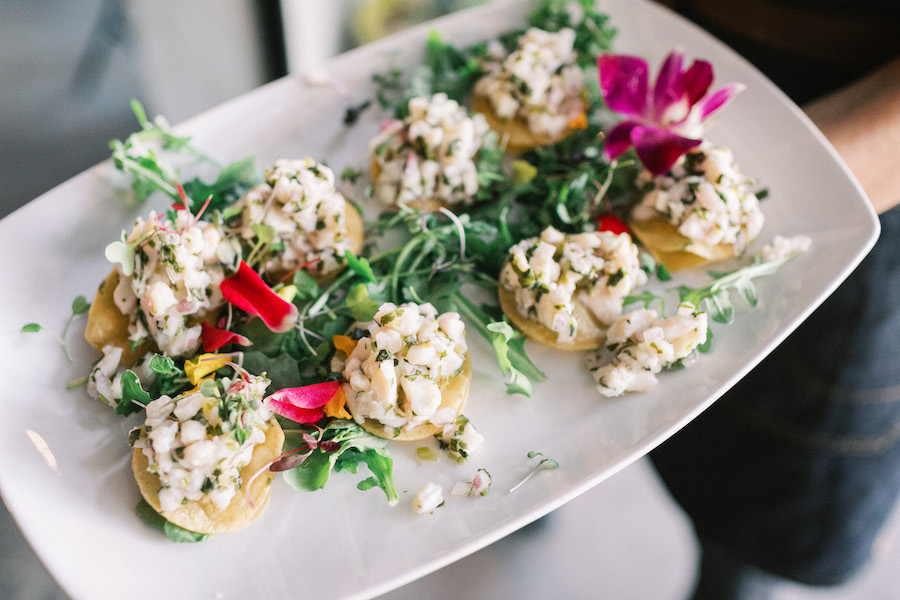 close up for appetizers for wedding reception guests in los angeles