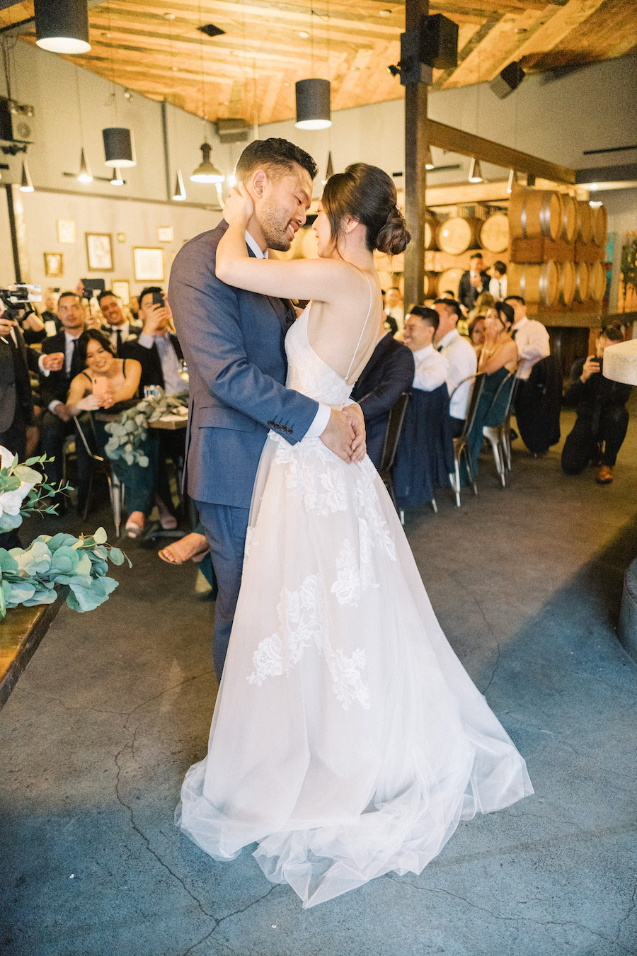 bride and groom first dance at madera kitchen la