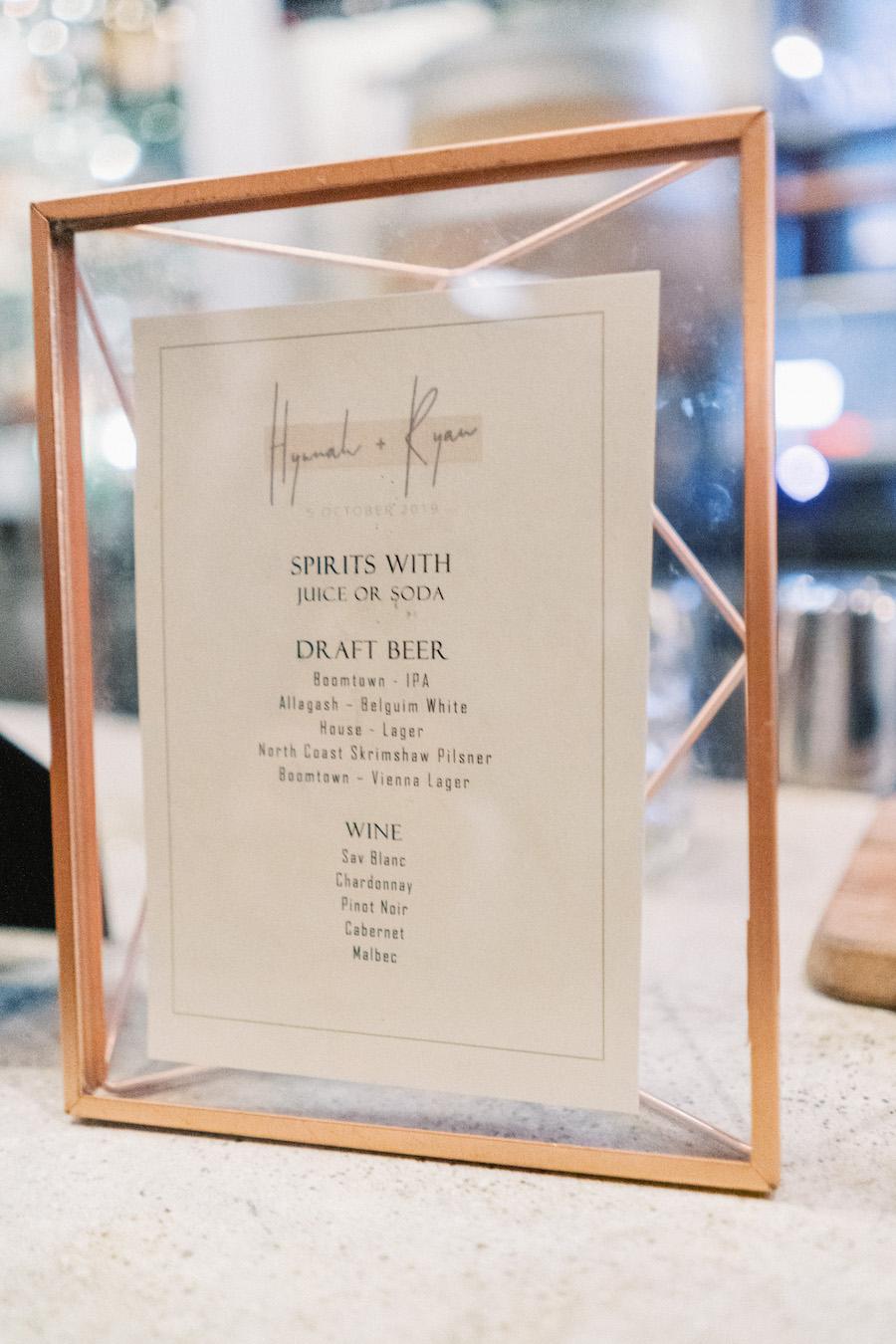 bar menu at wedding reception in los angeles