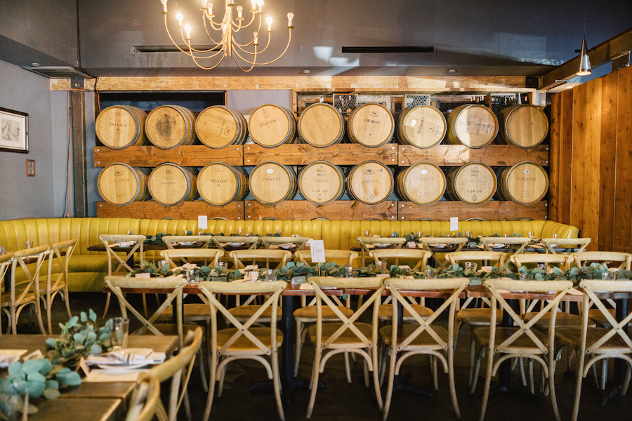 wedding reception decor at boho restaurant in los angeles