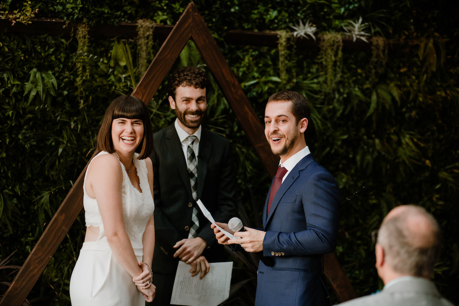 newlyweds smiling after saying i do in los angeles wedding