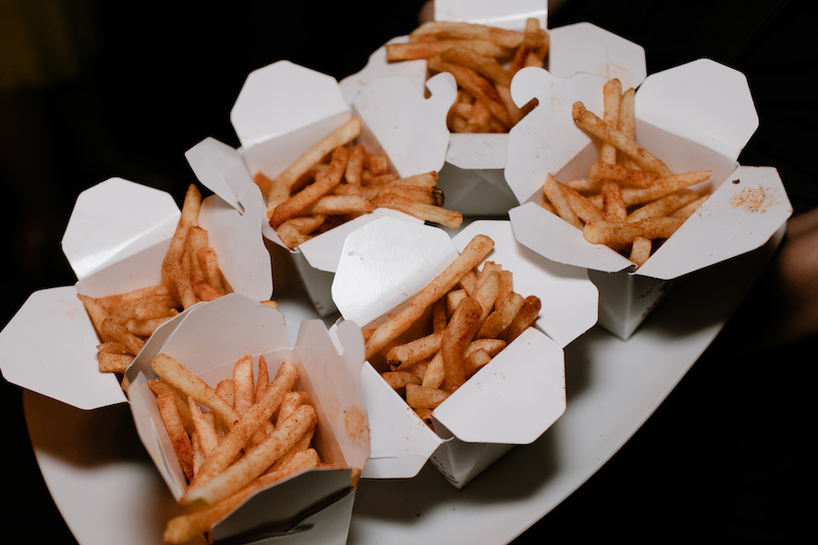 french fries served at wedding reception in los angeles