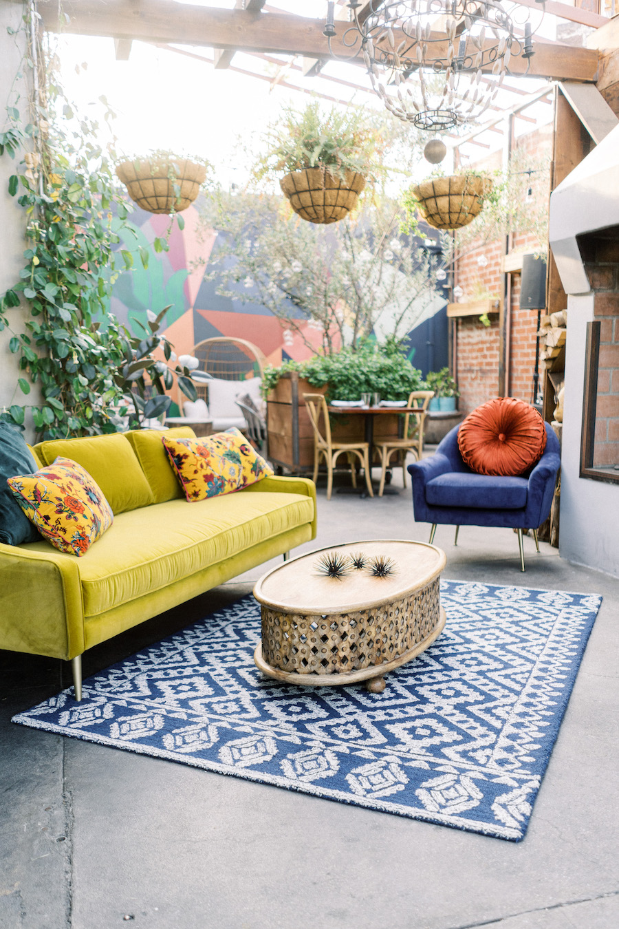 outdoor patio in boho restaurant in hollywood