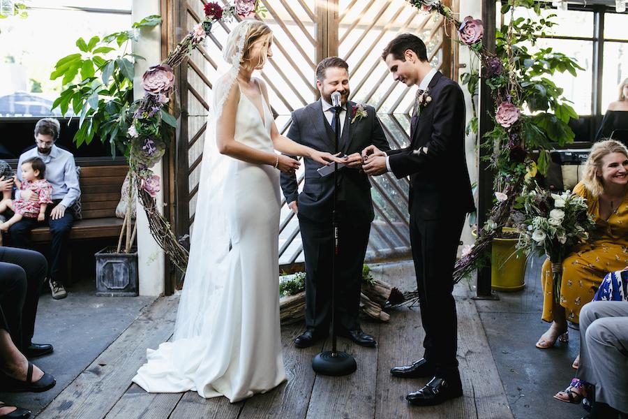 bride and groom at wedding ceremony in los angeles