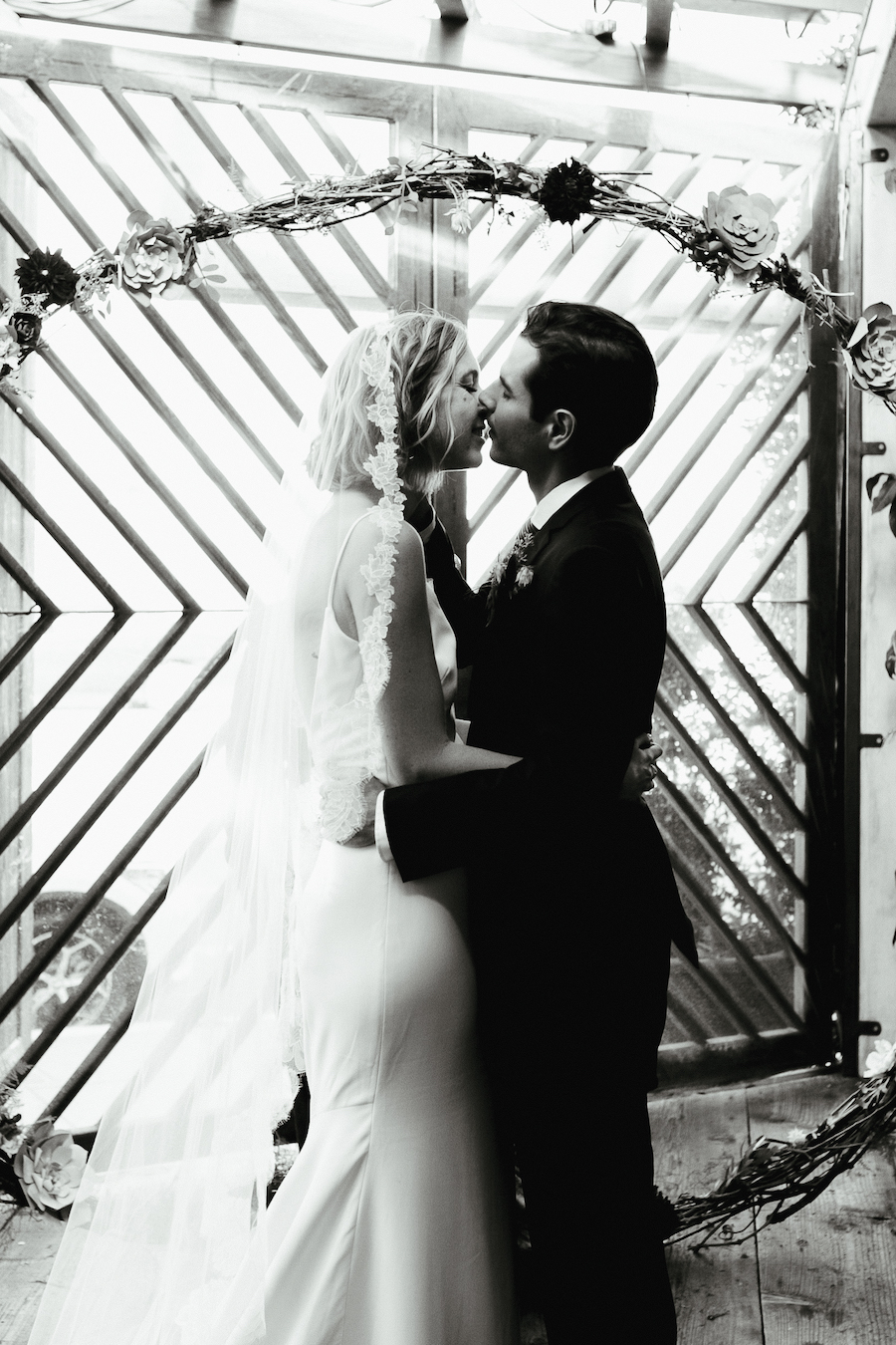 newlyweds first kiss after getting married in los angeles