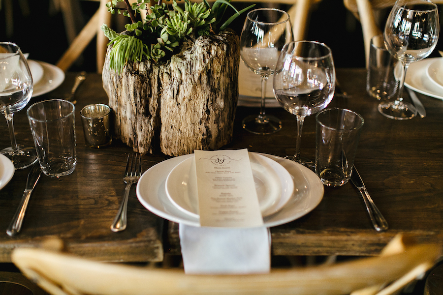 tabletop with wedding menu at earthy chic reception