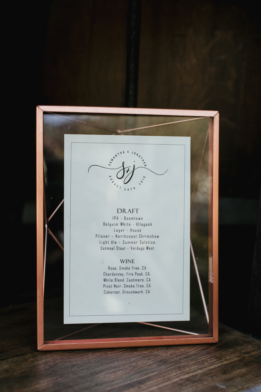 cocktail menu at wedding reception in los angeles