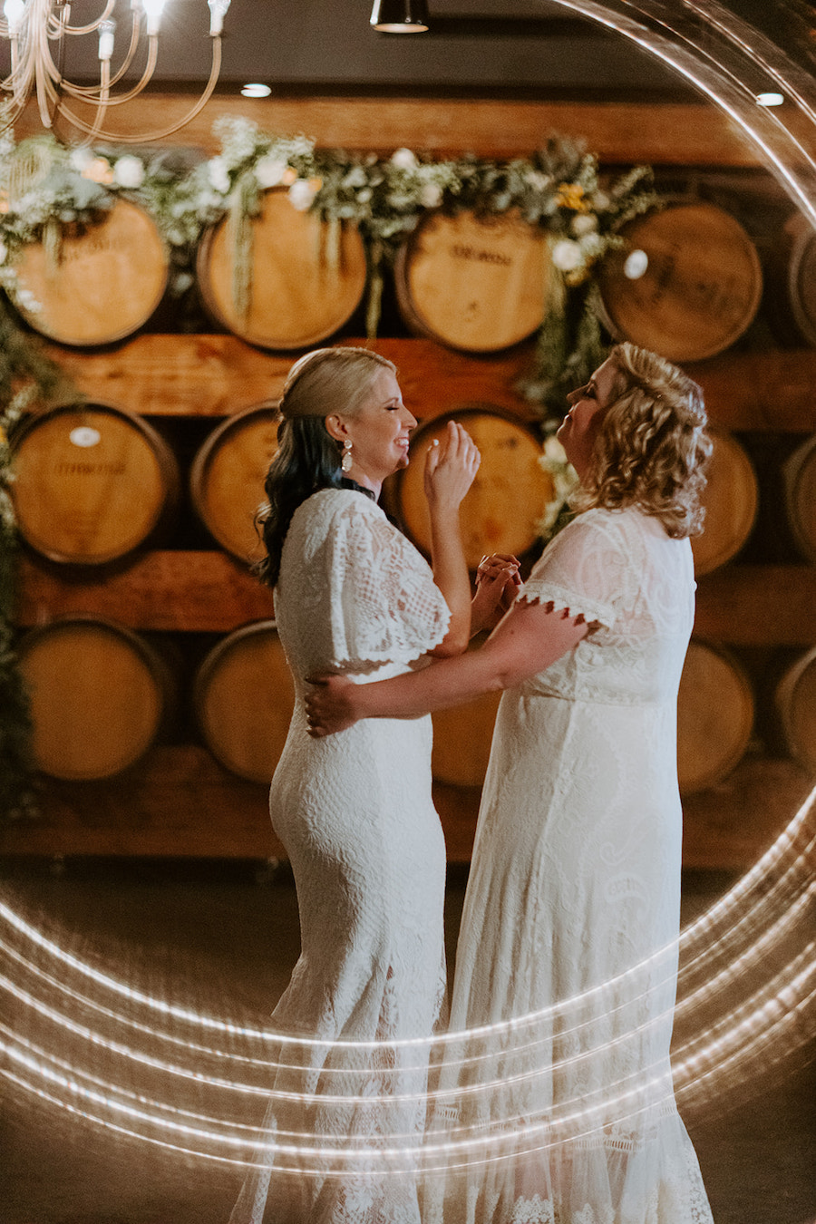 brides having first dance at wedding reception in los angeles