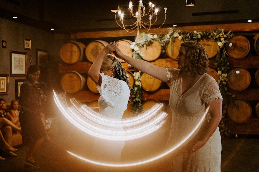 newlyweds dancing at wedding reception at madera kitchen la