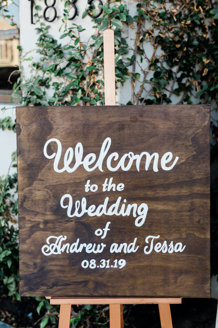 wedding welcome sign at boho venue