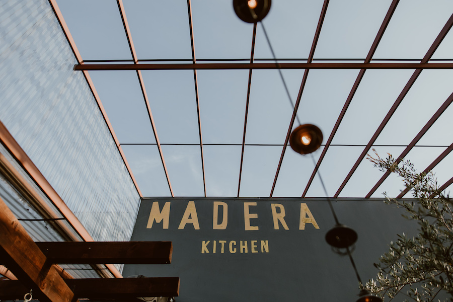 storefront of restaurant in Los Angeles saying Madera Kitchen