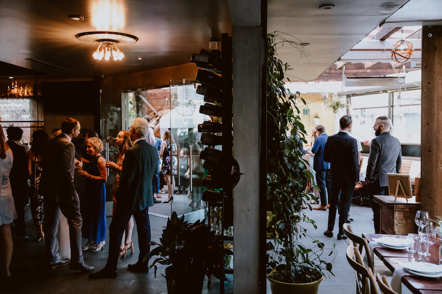 indoor and outdoor seating for guests at wedding reception