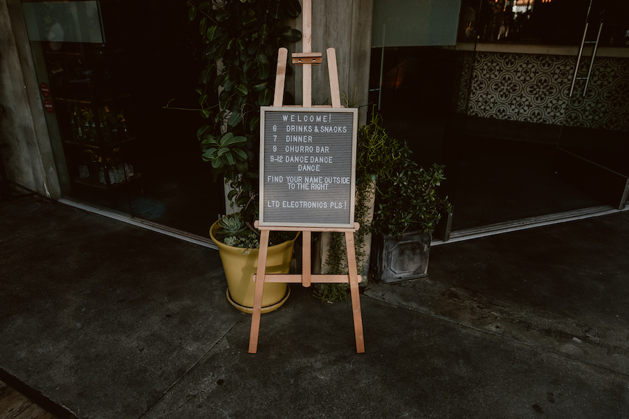 wedding reception welcome sign in los angeles