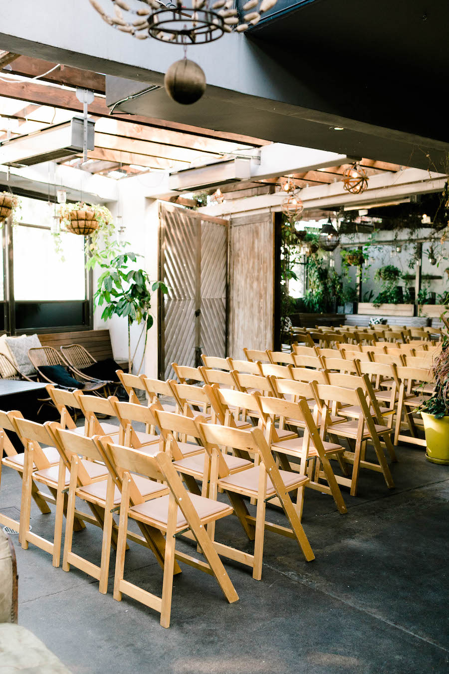 wedding reception setup at boho venue