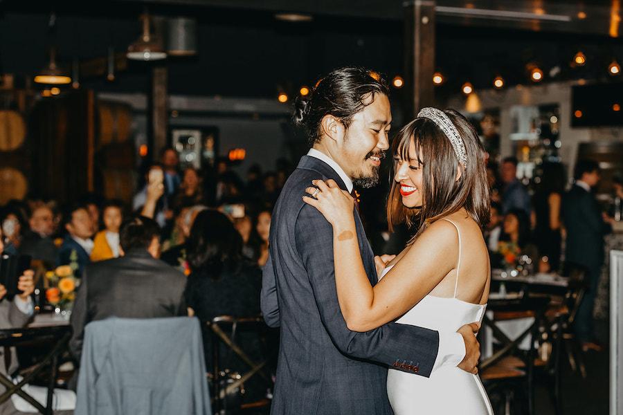 newlywed first dance at wedding reception