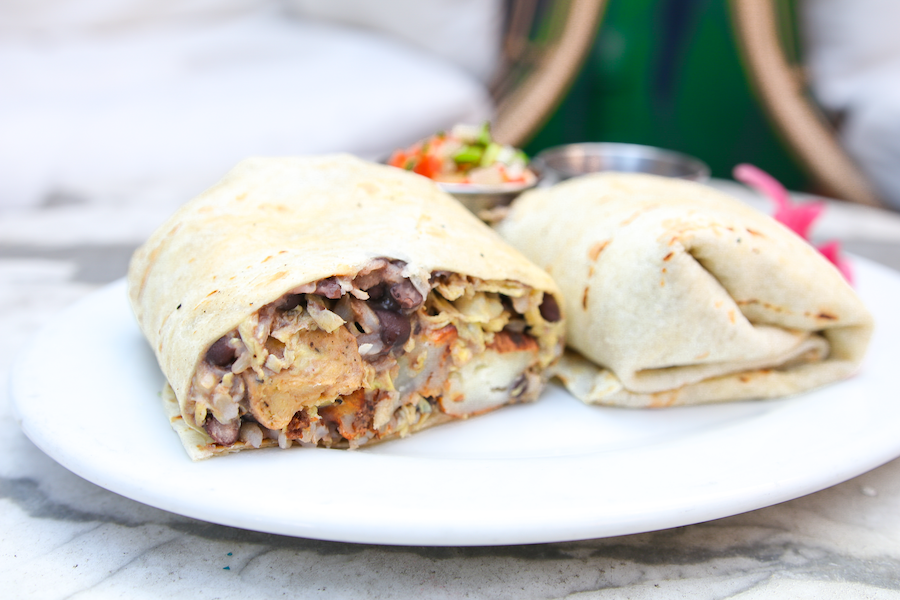 breakfast burrito at boho restaurant